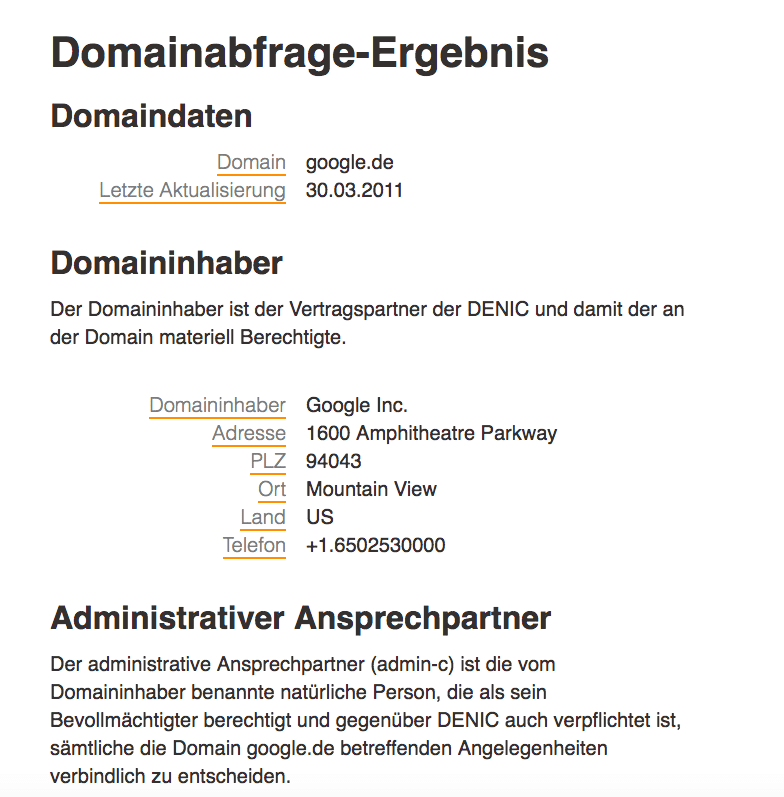 Domainabfrage Denic